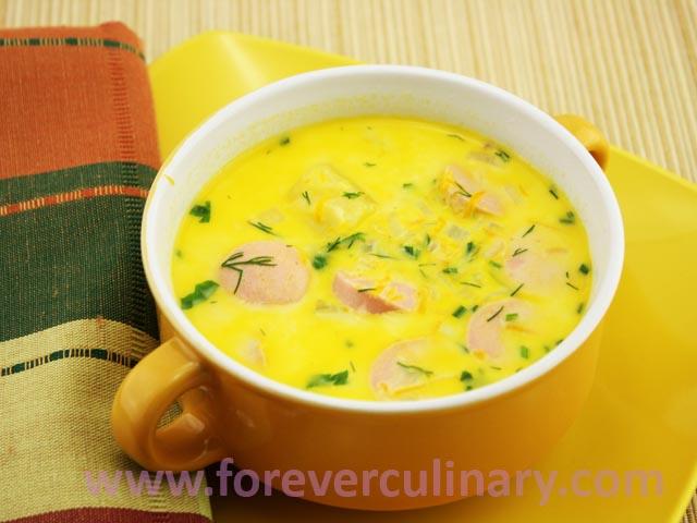 Суп с плавленным сыром и сосисками рецепт пошаговый
