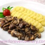 Куриные сердечки с грибами