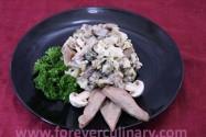 салат с языком, курицей и грибами